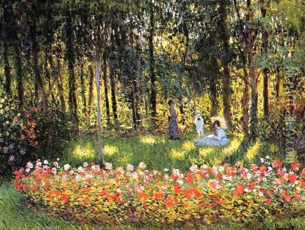 The Artists Family In The Garden Oil Painting - Claude Oscar Monet