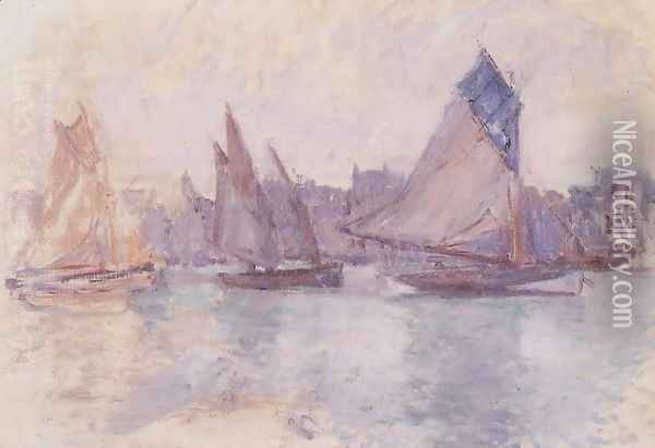 Boats In The Port Of Le Havre Oil Painting - Claude Oscar Monet