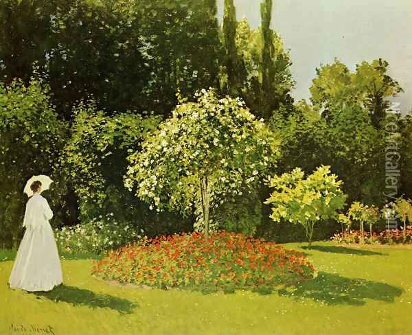 Lady In A Garden, 1867 Oil Painting - Claude Oscar Monet