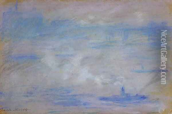 Boats On The Thames Fog Effect Oil Painting - Claude Oscar Monet
