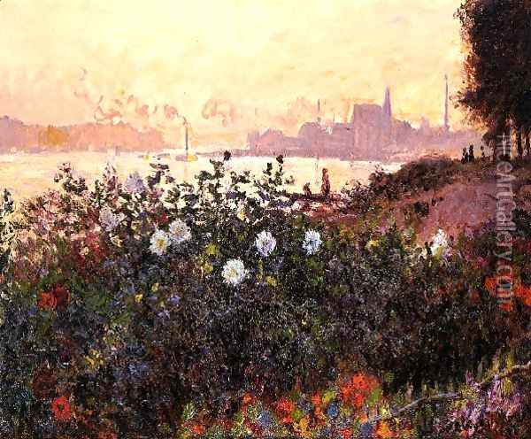 Argenteuil Flowers By The Riverbank Oil Painting - Claude Oscar Monet