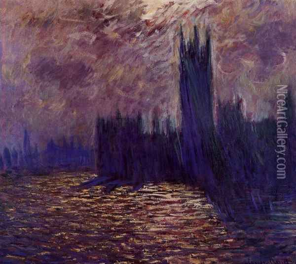 Houses of Parliament, Reflection of the Thames Oil Painting - Claude Oscar Monet