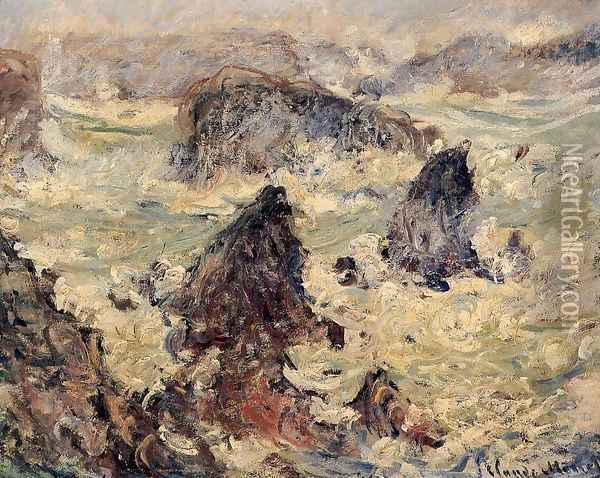 Storm On The Cote De Belle Ile Oil Painting - Claude Oscar Monet