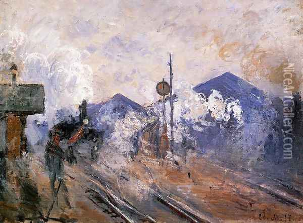 Track Coming Out Of Saint Lazare Station Oil Painting - Claude Oscar Monet
