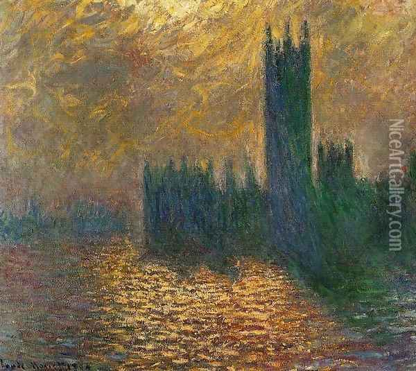 Houses Of Parliament Stormy Sky Oil Painting - Claude Oscar Monet