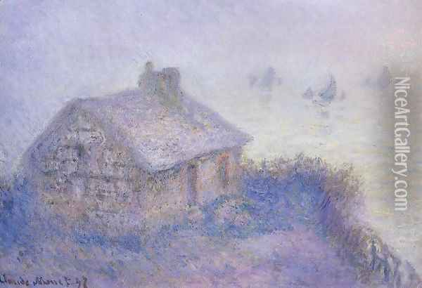 Customs House At Varengeville In The Fog Aka Blue Effect Oil Painting - Claude Oscar Monet