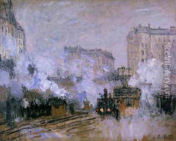 Exterior Of The Saint Lazare Station Arrival Of A Train Oil Painting - Claude Oscar Monet