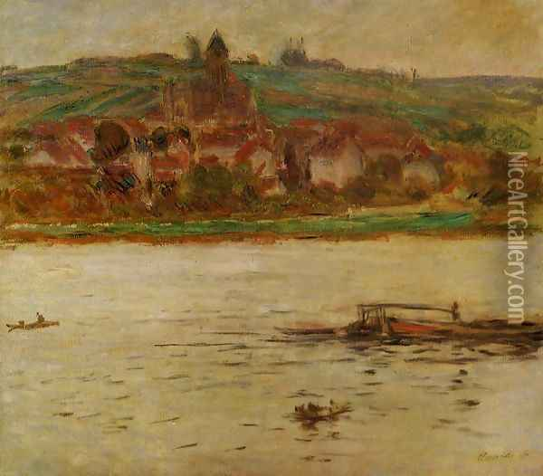 Barge On The Seine At Vertheuil Aka Vetheuil Oil Painting - Claude Oscar Monet