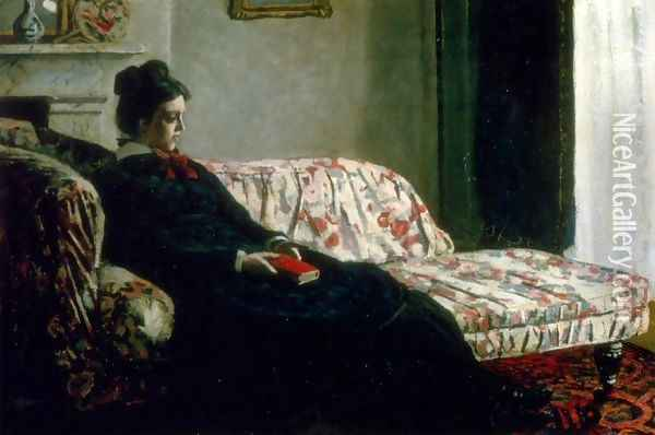 Meditation (Madame Monet On The Sofa) Oil Painting - Claude Oscar Monet