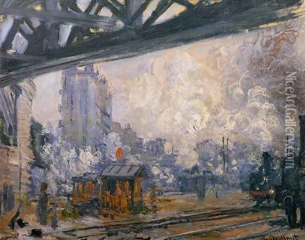 Exterior View Of The Saint Lazare Station Oil Painting - Claude Oscar Monet