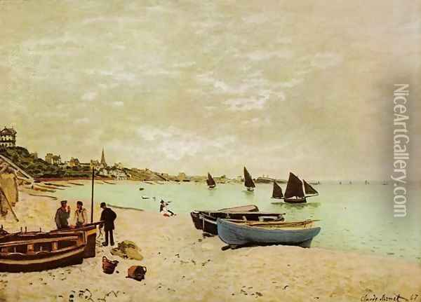 Beach at Sainte-Adresse Oil Painting - Claude Oscar Monet