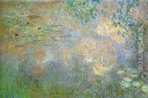 Water-Lily Pond with Irises (left half) Oil Painting - Claude Oscar Monet