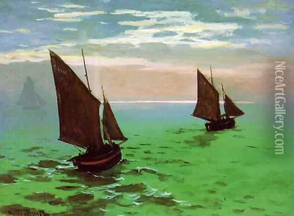 Fishing Boats At Sea Oil Painting - Claude Oscar Monet