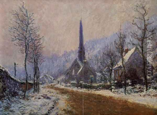 Church At Jeufosse Snowy Weather Oil Painting - Claude Oscar Monet