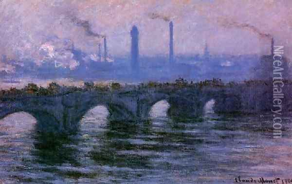 Waterloo Bridge Overcast Weather2 Oil Painting - Claude Oscar Monet