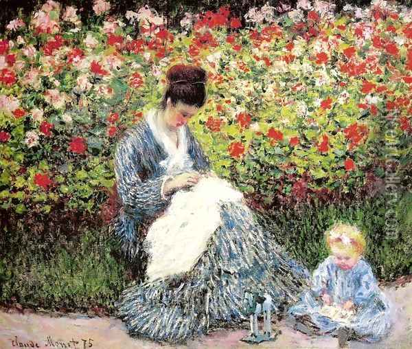 Madame Monet and Child (Camille Monet and a Child in a Garden) Oil Painting - Claude Oscar Monet