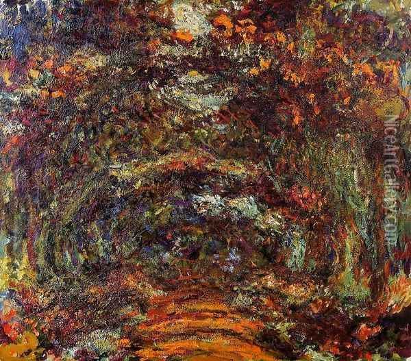The Path Under The Rose Arches Giverny Oil Painting - Claude Oscar Monet