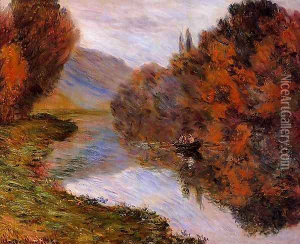 Rowboat On The Seine At Jeufosse Oil Painting - Claude Oscar Monet