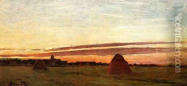 Grainstacks At Chailly At Sunrise Oil Painting - Claude Oscar Monet