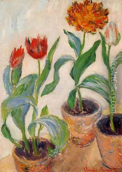 Three Pots Of Tulips Oil Painting - Claude Oscar Monet