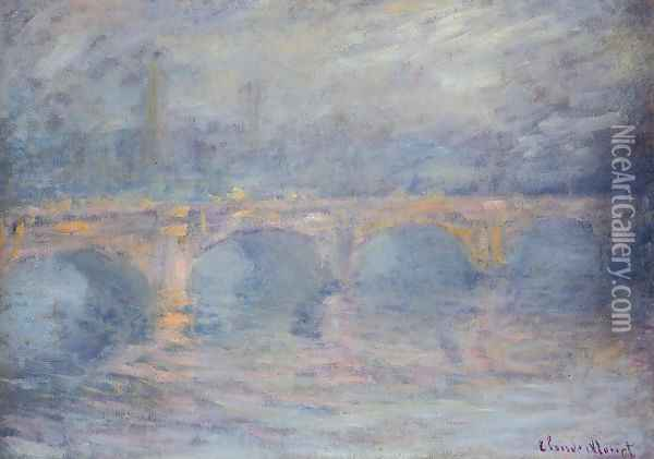 Waterloo Bridge At Sunset Pink Effect Oil Painting - Claude Oscar Monet