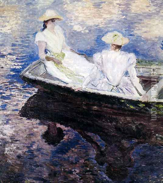 Girls In A Boat Oil Painting - Claude Oscar Monet