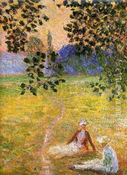 Evening in the Meadow at Giverny (detail) Oil Painting - Claude Oscar Monet