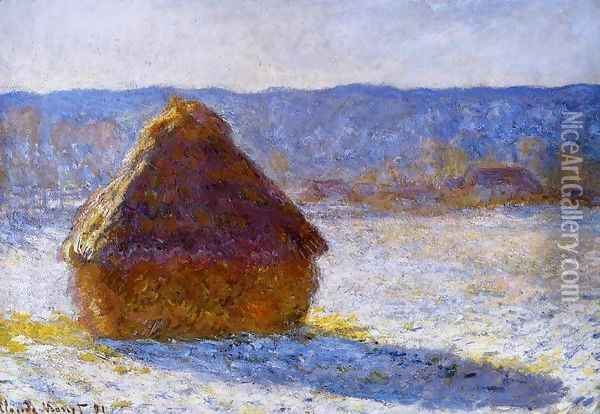 Grainstack In The Morning Snow Effect Oil Painting - Claude Oscar Monet