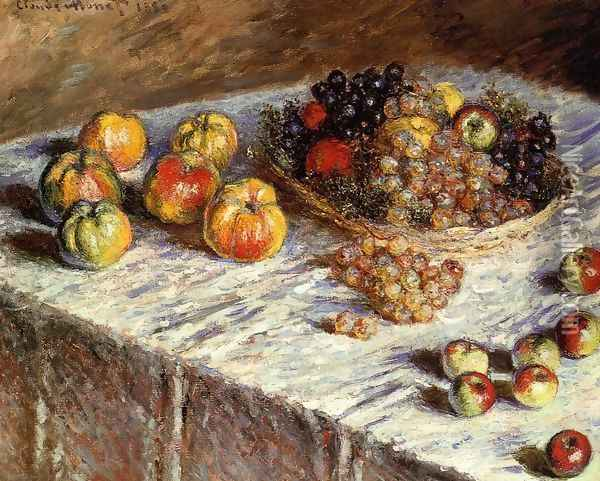 Still Life Apples And Grapes Oil Painting - Claude Oscar Monet