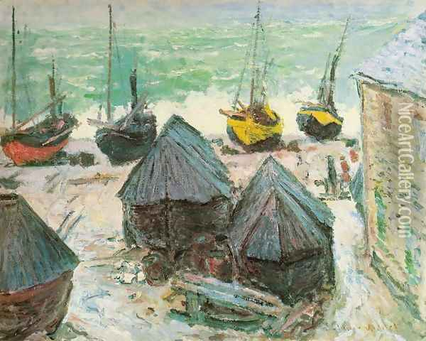 Boats in Winter Quarters, Etretat Oil Painting - Claude Oscar Monet