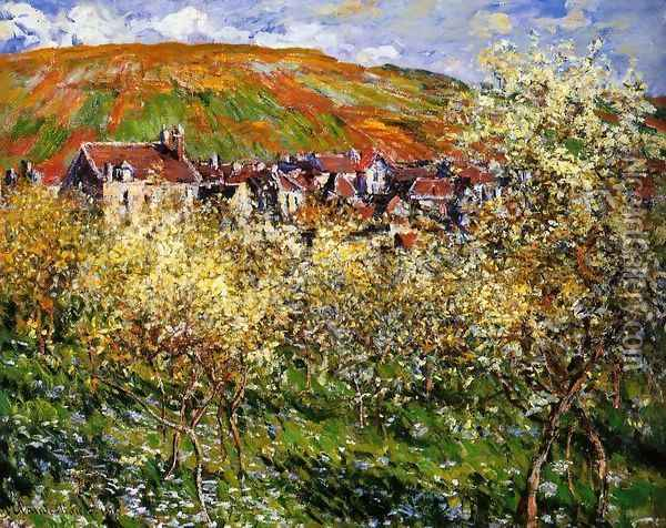 Plum Trees In Blossom At Vetheuil Oil Painting - Claude Oscar Monet