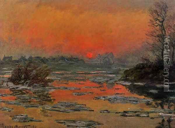 Sunset On The Seine In Winter Oil Painting - Claude Oscar Monet
