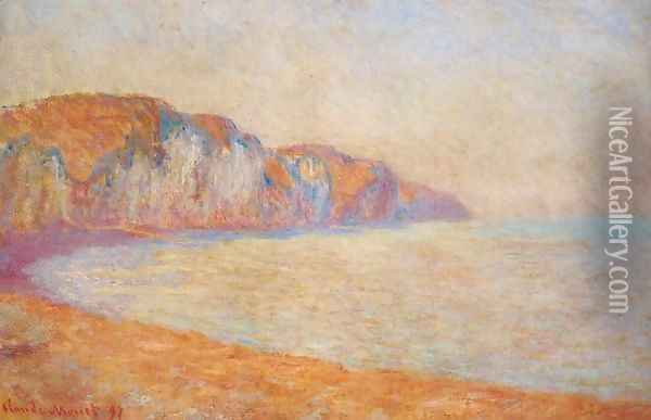 Cliff At Pourville In The Morning Oil Painting - Claude Oscar Monet