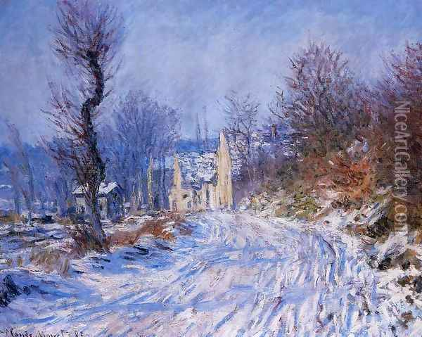 Road To Giverny In Winter Oil Painting - Claude Oscar Monet