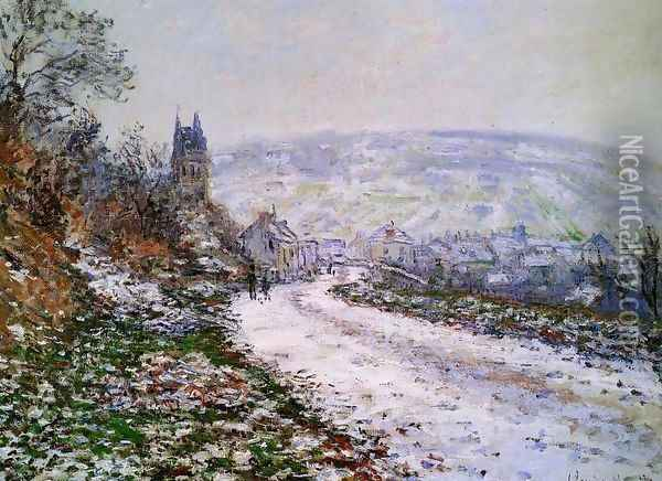 Entering The Village Of Vetheuil In Winter Oil Painting - Claude Oscar Monet