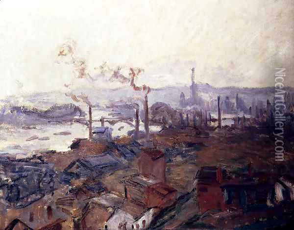 General View Of Rouen From St. Catherine's Bank Oil Painting - Claude Oscar Monet