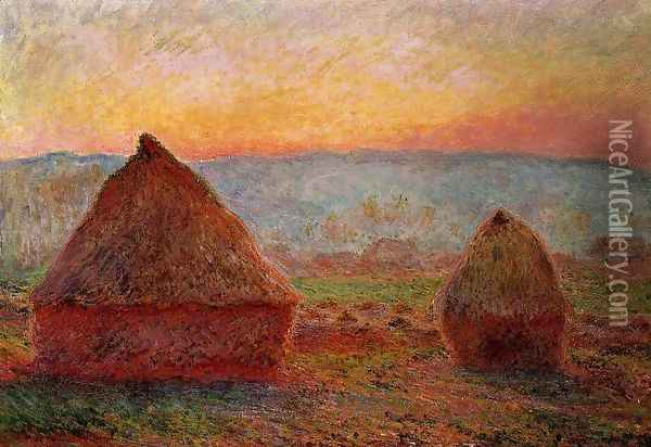 Grainstacks At Giverny Sunset Oil Painting - Claude Oscar Monet
