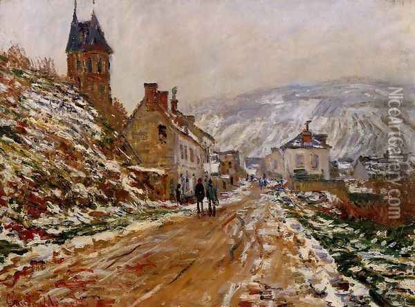 The Road In Vetheuil In Winter Oil Painting - Claude Oscar Monet