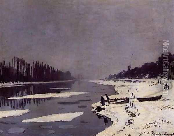 Ice Floes On The Saine At Bougival Oil Painting - Claude Oscar Monet