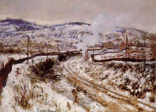 Train In The Snow Argenteuil Oil Painting - Claude Oscar Monet