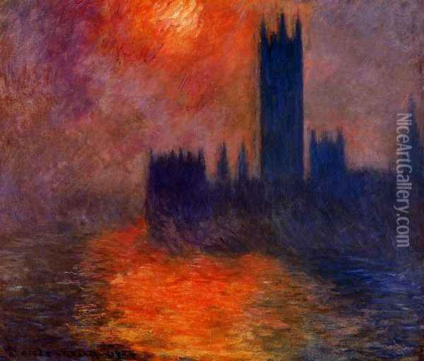 Houses of Parliament, Sunset I Oil Painting - Claude Oscar Monet