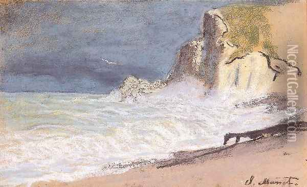 Etretat Amont Cliff Rough Weather Oil Painting - Claude Oscar Monet