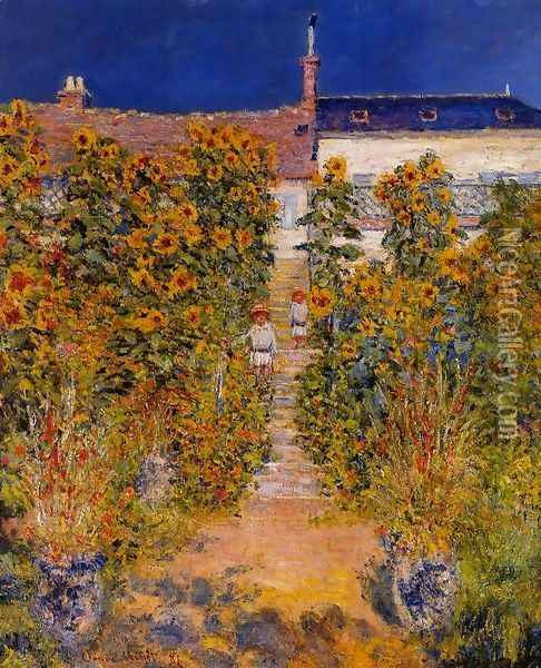 The Artists Garden At Vetheuil Oil Painting - Claude Oscar Monet
