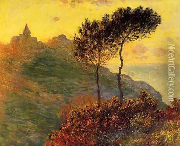 The Church At Varengeville Against The Sunset Oil Painting - Claude Oscar Monet