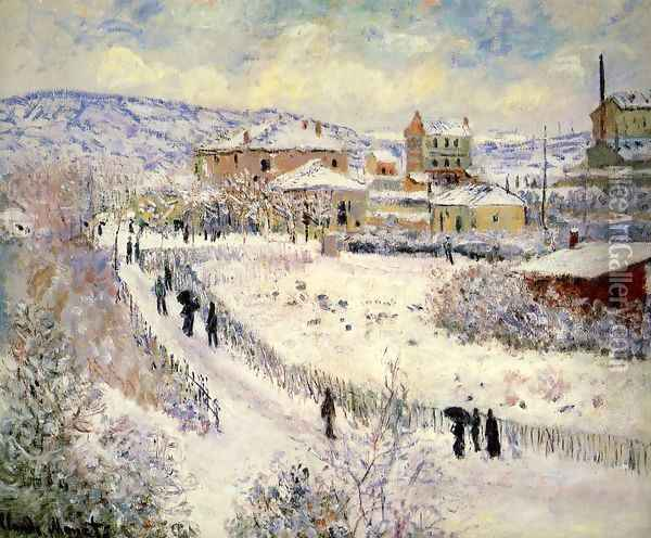 View Of Argenteuil In The Snow Oil Painting - Claude Oscar Monet