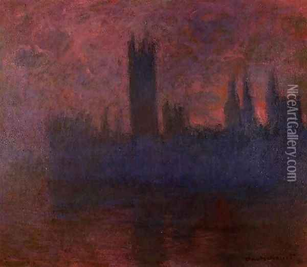 Houses Of Parliament London Symphony In Rose Oil Painting - Claude Oscar Monet