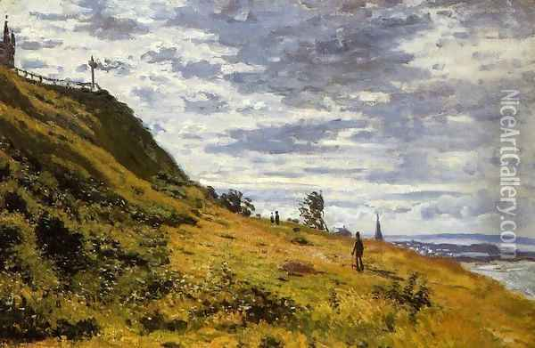 Taking A Walk On The Cliffs Of Sainte Adresse Oil Painting - Claude Oscar Monet
