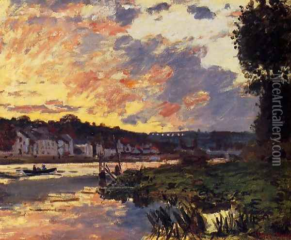 The Seine At Bougeval Evening Aka Bougival Oil Painting - Claude Oscar Monet