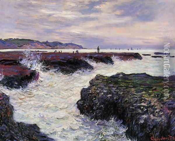 The Rocks At Pourville Low Tide Oil Painting - Claude Oscar Monet
