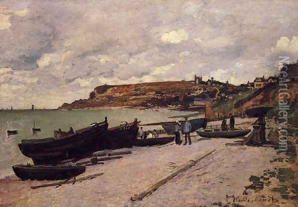 Sainte Adresse Fishing Boats On The Shore Oil Painting - Claude Oscar Monet